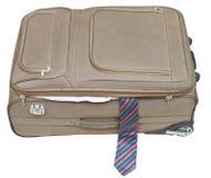 有被隔绝的男性领带的半开纺织品手提箱 库存图片