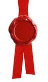 有被隔绝的红色丝带的蜡封印 库存图片