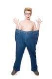 有被隔绝的长裤的滑稽的人 免版税库存图片