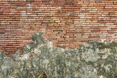 有被洒的白色膏药的老葡萄酒红砖墙壁 免版税库存图片