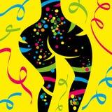 有被绘的身体的性感的狂欢节舞蹈家 免版税图库摄影