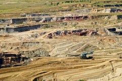 有被暴露的色的矿物和褐煤的,坑采矿设备床铺墙壁地表矿山 免版税库存照片
