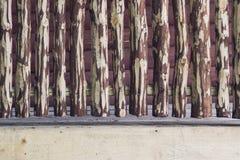 有裁减路线的粗砺的有裂痕的木篱芭 图库摄影