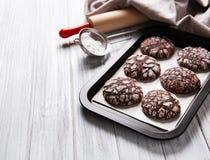有裂痕的巧克力饼干 图库摄影