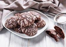 有裂痕的巧克力饼干 库存照片