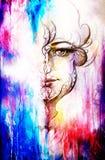 有装饰品的神秘的妇女在面孔 在老纸的铅笔图 颜色作用 库存图片
