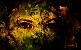 有装饰品的神秘的妇女在面孔 在老纸的铅笔图 向量例证