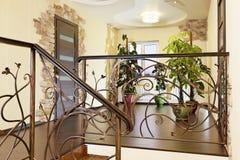 有装饰扶手栏杆的古典台阶在有门的走廊 免版税库存照片