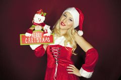 有装饰的圣诞节女孩 库存图片
