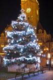 有装饰的空的圣诞节镇和光和树 没有雪冬时, Prostejov,捷克 库存照片