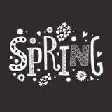 有装饰花卉元素的字法春天 免版税图库摄影