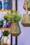 有装饰花的金属古铜色垂悬的花盆 库存图片