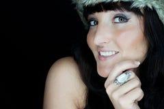 有裘皮帽的美丽的妇女 库存图片