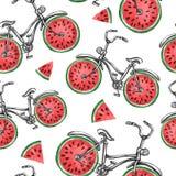 有西瓜轮子的水彩无缝的样式自行车 背景五颜六色的例证夏天向量 免版税库存照片