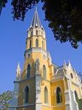 有西部教会样式的泰国寺庙 免版税库存图片
