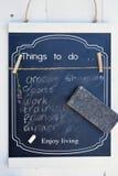 有要做名单的a的黑粉笔板 库存图片