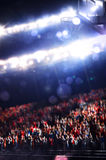 有观众的盛大篮球竞技场 免版税库存图片