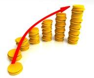 有角度的硬币堆积增加利润的显示 库存照片