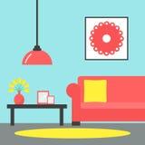 有角正餐内部客厅沙发无盖货车 当代客厅内部 向量例证