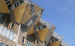 有角建筑大厦在鹿特丹,荷兰 免版税库存图片