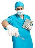 有解剖刀的医科学生 库存照片