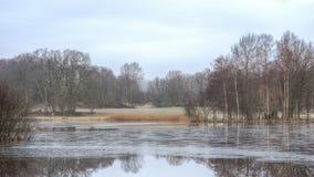 有解冻冰的湖 库存照片