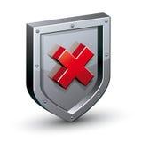有警告的x标志安全盾 库存照片