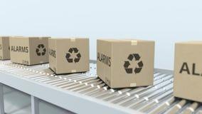 有警报的纸盒在辊筒运输机 Loopable 3D?? 皇族释放例证