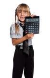 有计算器的小女孩 库存照片