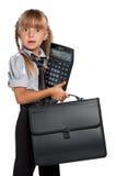 有计算器的小女孩 免版税图库摄影