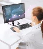 有计算机的女实业家在办公室 库存图片