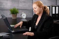 有计算机的女实业家 免版税库存照片