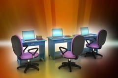 有计算机的工作场所 免版税库存图片