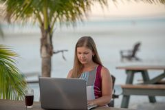有计算机的年轻女人在棕榈前面 库存照片