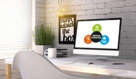 有计算机的时髦的工作场所有入站营销概念的o 向量例证