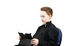 有计算机的男孩 图库摄影