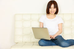 有计算机的年轻日本妇女 库存图片