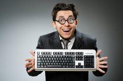 有计算机的Comouter怪杰 免版税库存照片