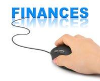 有计算机老鼠和词财务的手 免版税库存照片