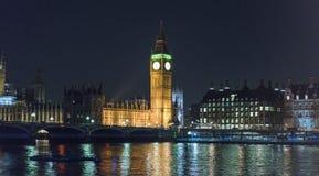 有议会大本钟和议院的泰晤士河在晚上 免版税库存照片