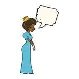 有讲话泡影的动画片公主 免版税库存照片