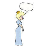 有讲话泡影的动画片公主 图库摄影