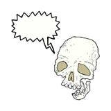有讲话泡影的动画片古老鬼的头骨 库存照片
