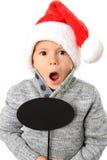 有讲话泡影的圣诞老人男孩 图库摄影