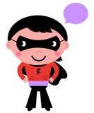 有讲话泡影的逗人喜爱的超级英雄男孩 库存照片