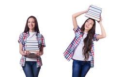 有许多书的学生女孩在白色 免版税图库摄影