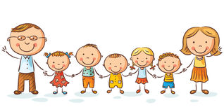 有许多孩子的愉快的家庭 免版税库存图片