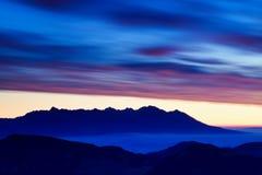 有许多峰顶和清楚的天空的冬天高Tatras山脉全景 在多雪的山顶部的好日子 库存照片