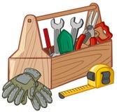 有许多工具的工具箱 皇族释放例证