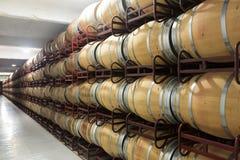 有许多木桶的酿酒厂 免版税库存照片
